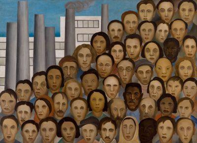 Operários: destaque da fase social da pintora, a telamostra os vários rostos dos trabalhadores darecém-inaugurada indústria brasileira.