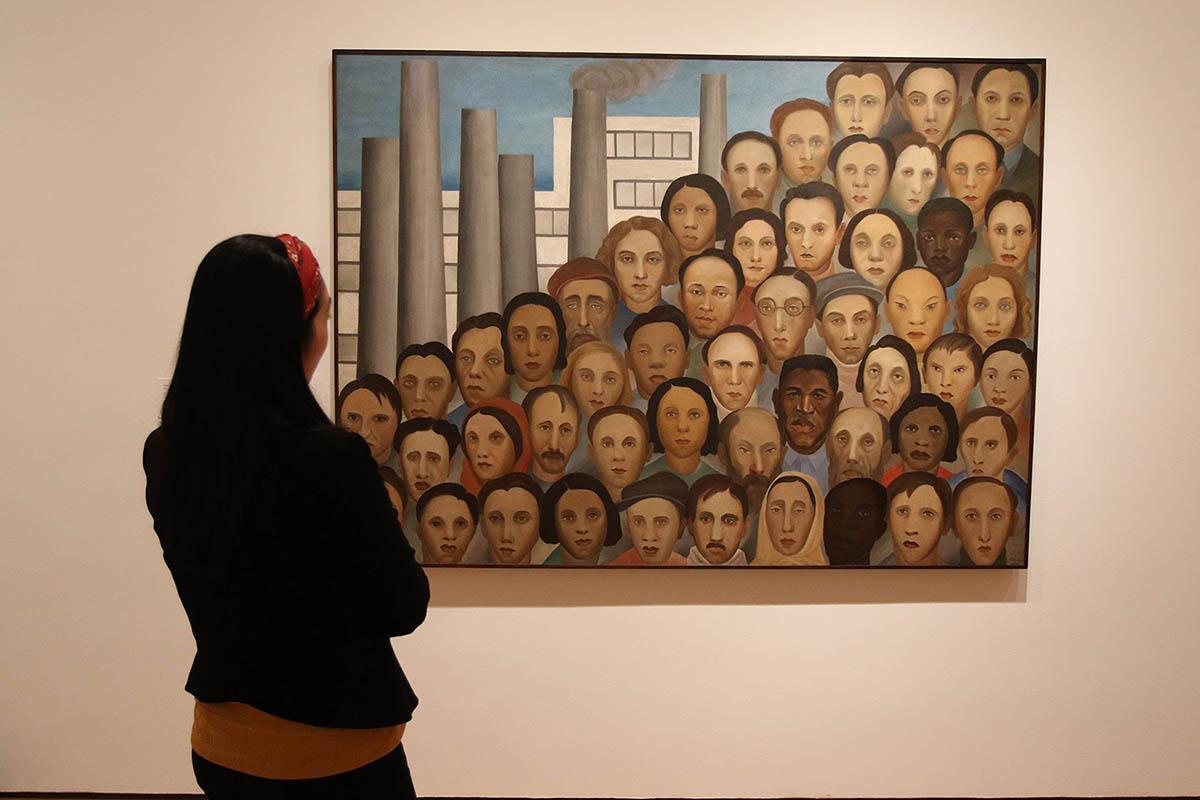 A obra 'Operários' de 1933 em exposição no Moma, em Nova York (Alcir N. da Silva/VEJA)